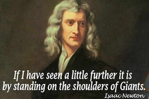 Sir Isaac Newton stangind on the shoulders of giants