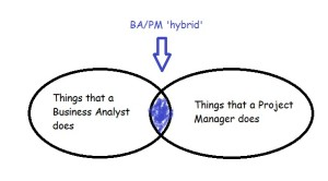 Infographic showing the overlap between Business Analyst and Project Managers roles