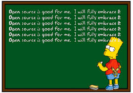 Cartoon about Bart Simpson embracing Open Source