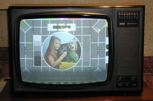 Old TV with test card