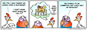 Cartoon strip explaining the parable of the pig and the chicken