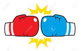 Read and blue boxing glove