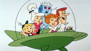 the Jetsons family in a futuristic hover car