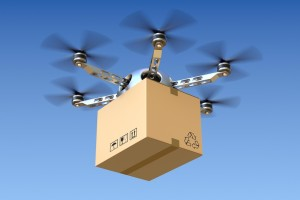 A drone carrying a parcel