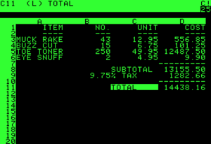 VisiCalc early spreadsheet