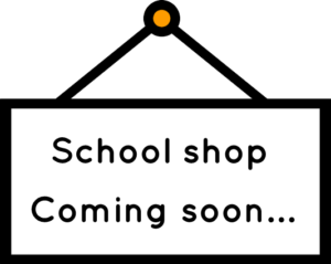 School shop sign - coming soon