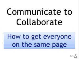 Communicate to collaborate title page