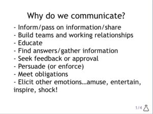 List of reasons why we communicate