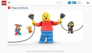 404 page not found page on the lego website