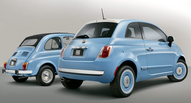Old and new retro Fiat 500