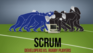 An IT versus a rugby scrum