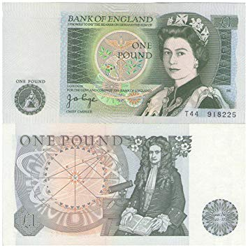 Old UK pound note